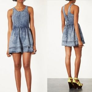 Topshop Moto Lattice Acid Wash Denim Dress